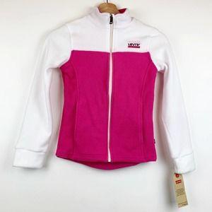 Levi's Girls Pink Fleece Zip up Jacket 10-12 NEW